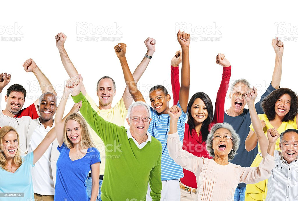 Group Of People Raising Their Arms And Expressing Positivity stock photo