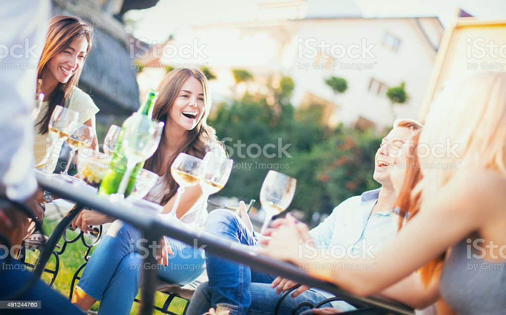 Group of people relaxing in backyard. stock photo
