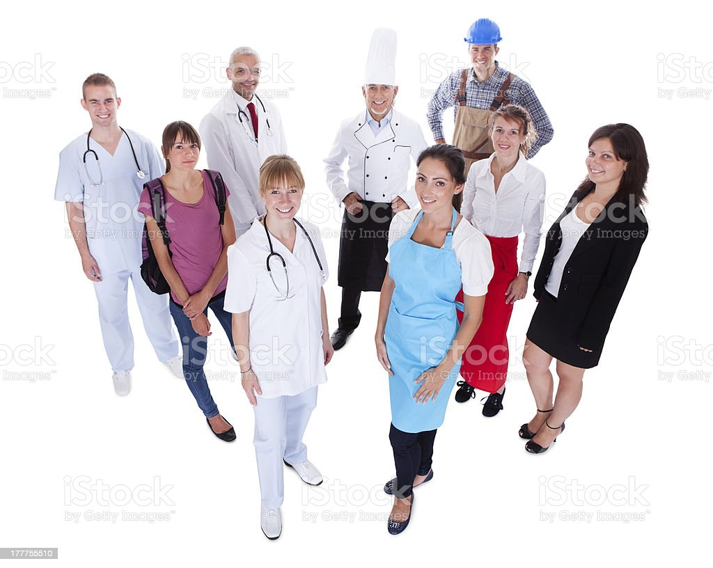 Group of people representing diverse professions stock photo