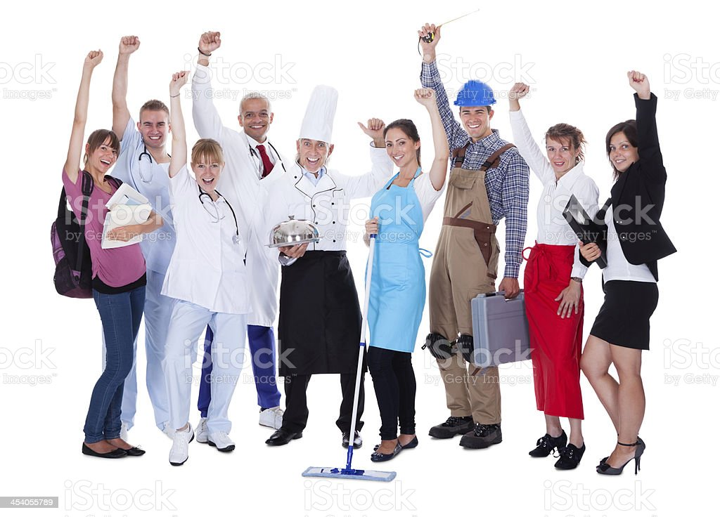 Group of people representing diverse professions royalty-free stock photo