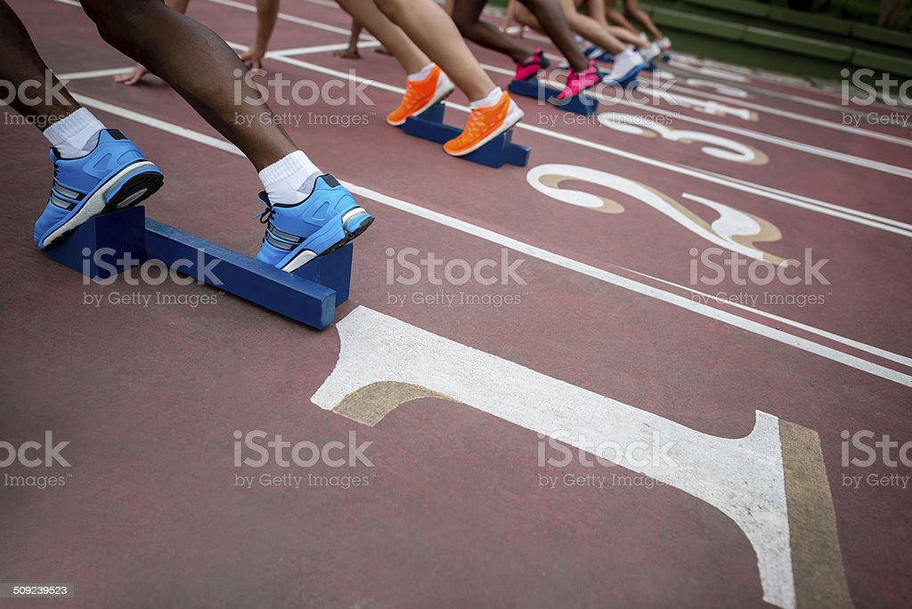 Group of people running stock photo