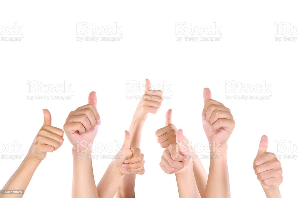 Group of people showing thumbs up royalty-free stock photo