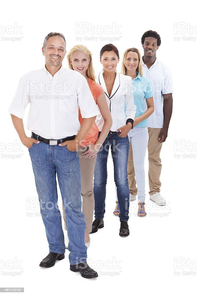 A group of people standing in a line on a white background stock photo