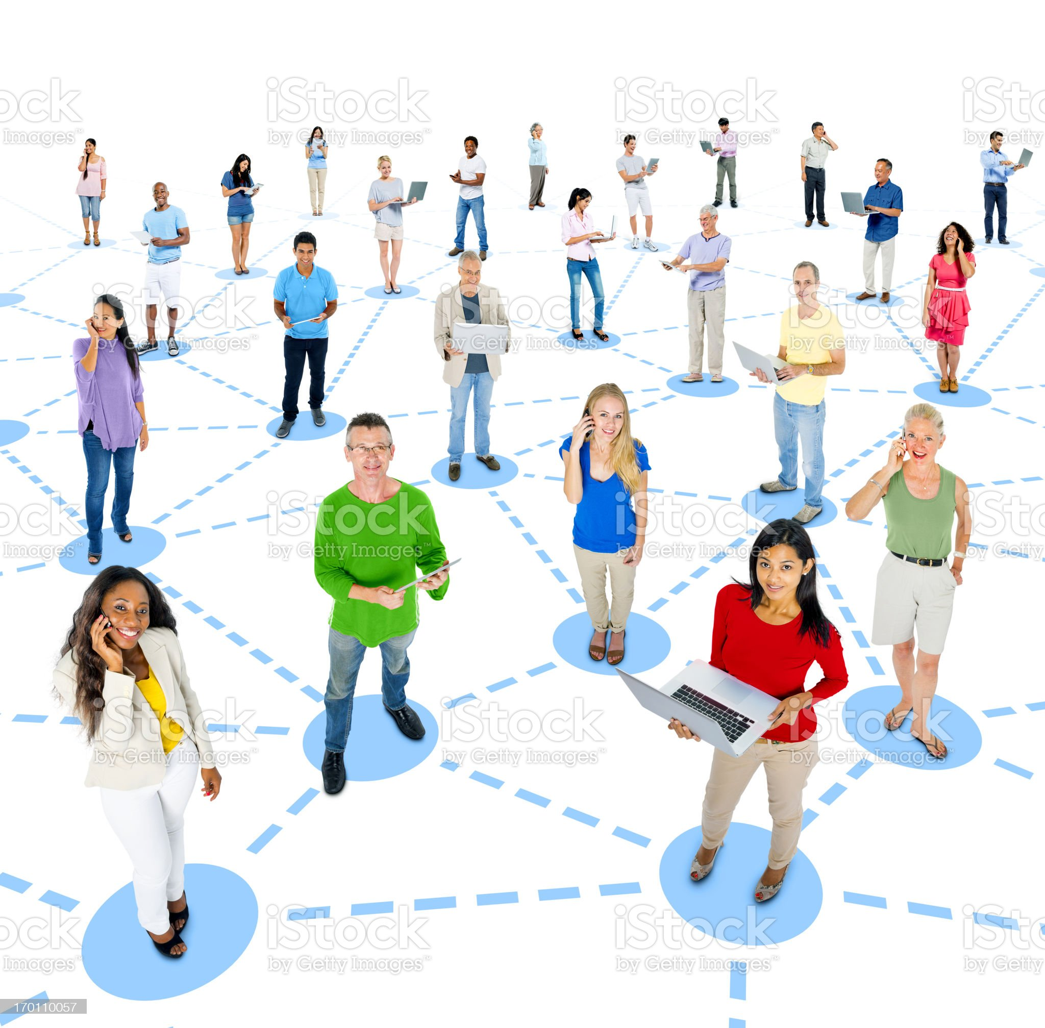 Group of people standing in blue circles to show connection  royalty-free stock photo