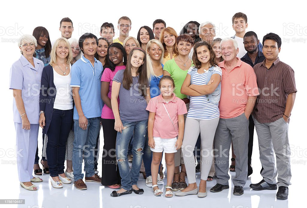 Group of people standing together. stock photo