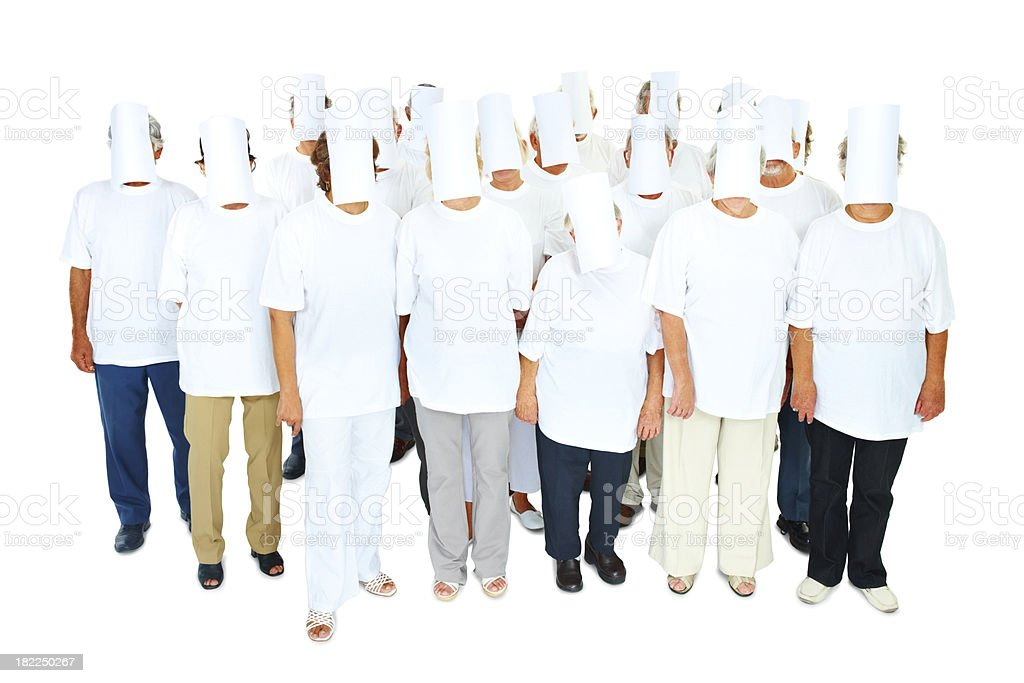 Group of people standing together with obscured faces royalty-free stock photo