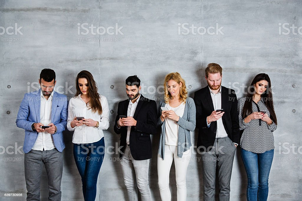 Group of people surfing the net stock photo
