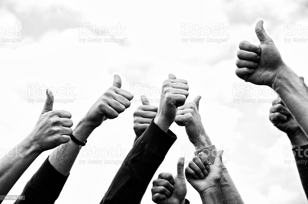 Group of People Thumbs Up Outdoors.Black And White royalty-free stock photo
