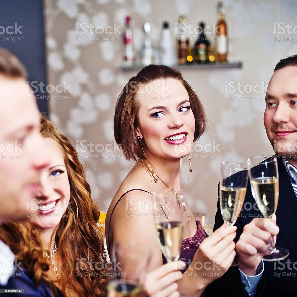 Group of people toasting royalty-free stock photo