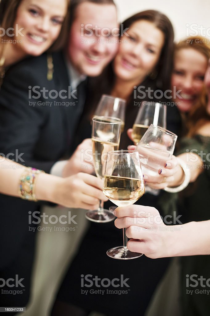 Group of people toasting stock photo
