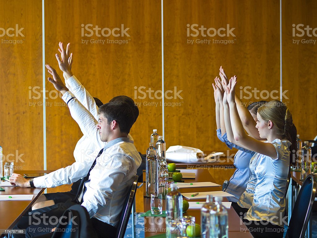 Group Of People Voting In Workshop royalty-free stock photo