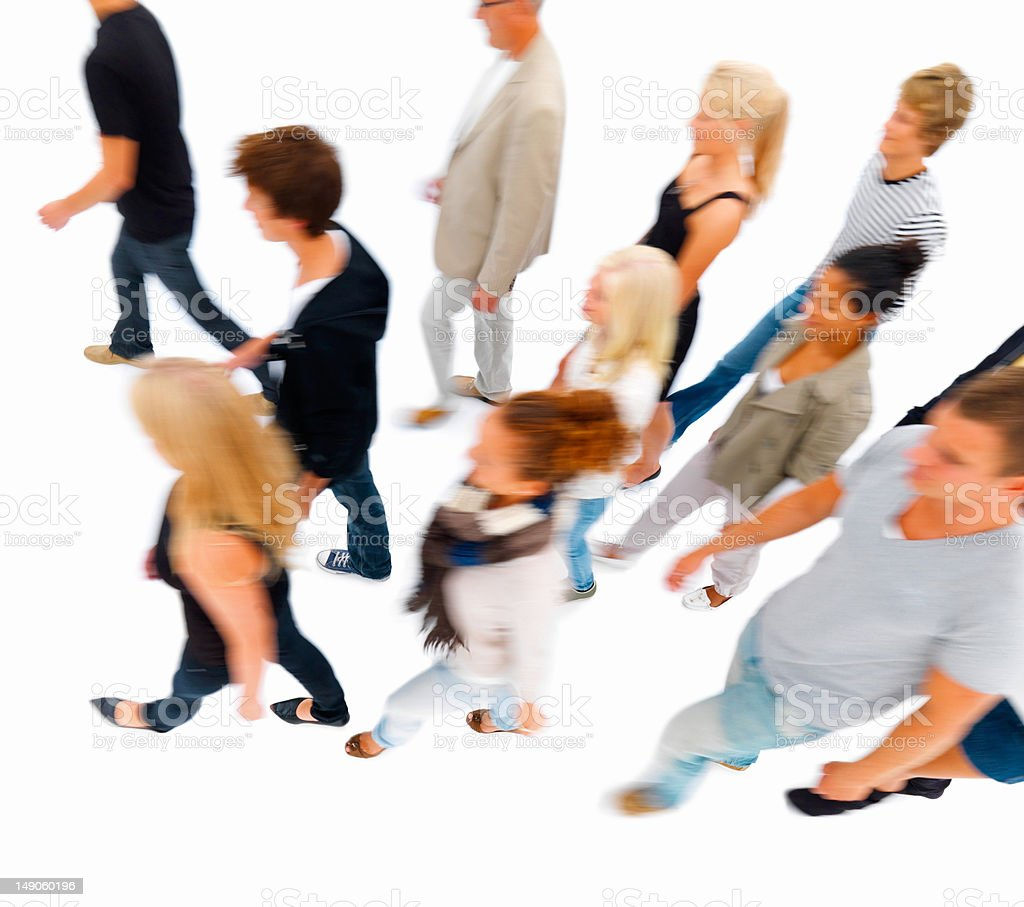 Group of people walking against white royalty-free stock photo