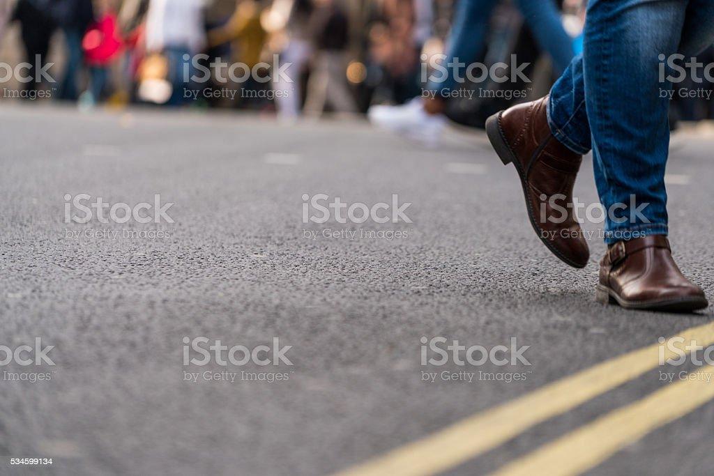 Group of people walking stock photo