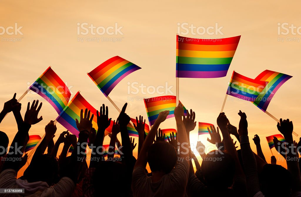 Group of People Waving Gay Pride Symbol Flags stock photo