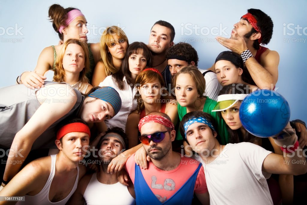 Group of People Wearing Tight Leggings and Leotard royalty-free stock photo