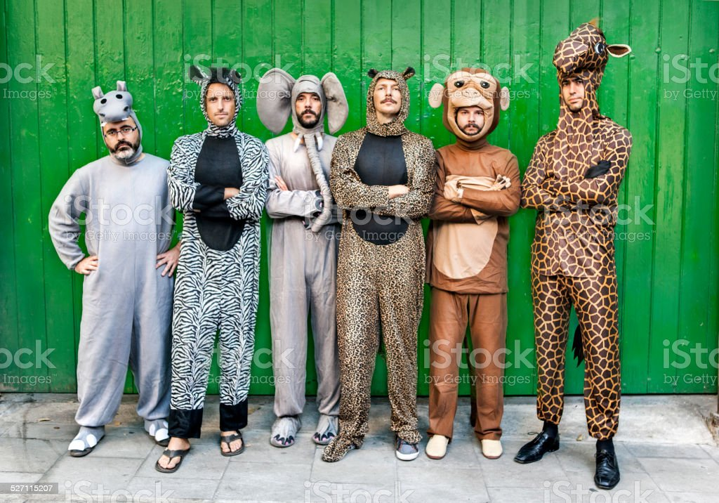 Group of people with animal costumes stock photo