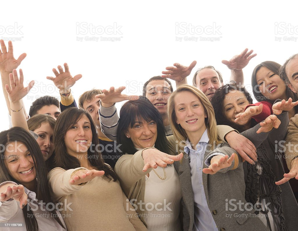 Group of people with arm raised for success royalty-free stock photo