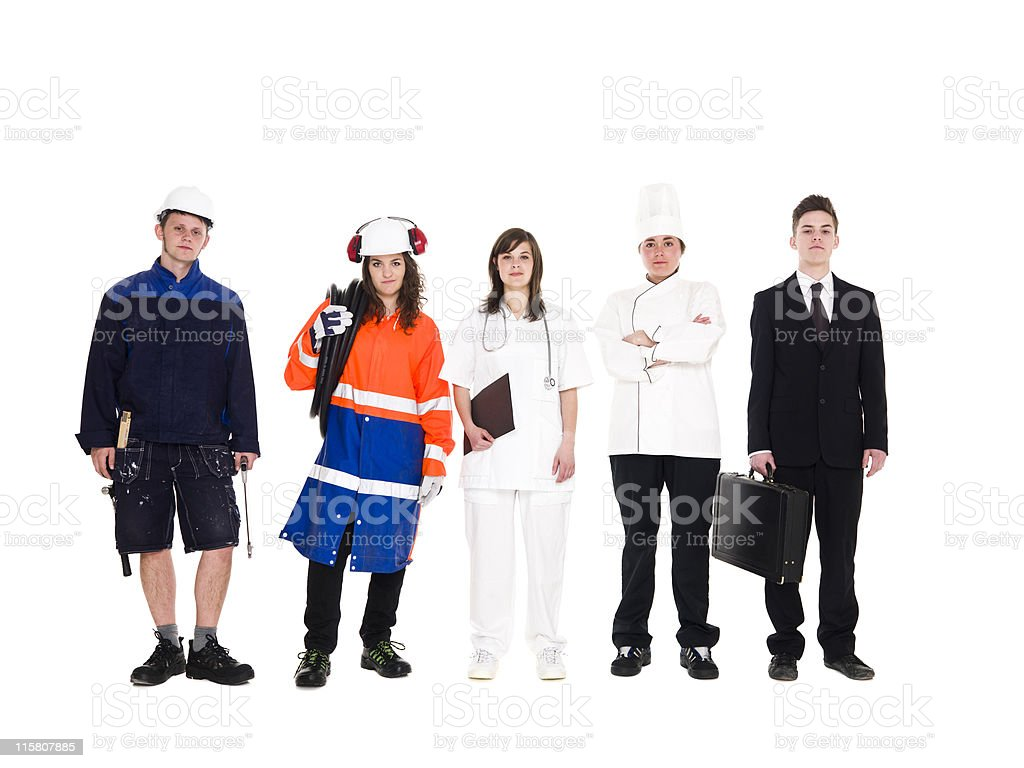 Group of people with different occupation royalty-free stock photo