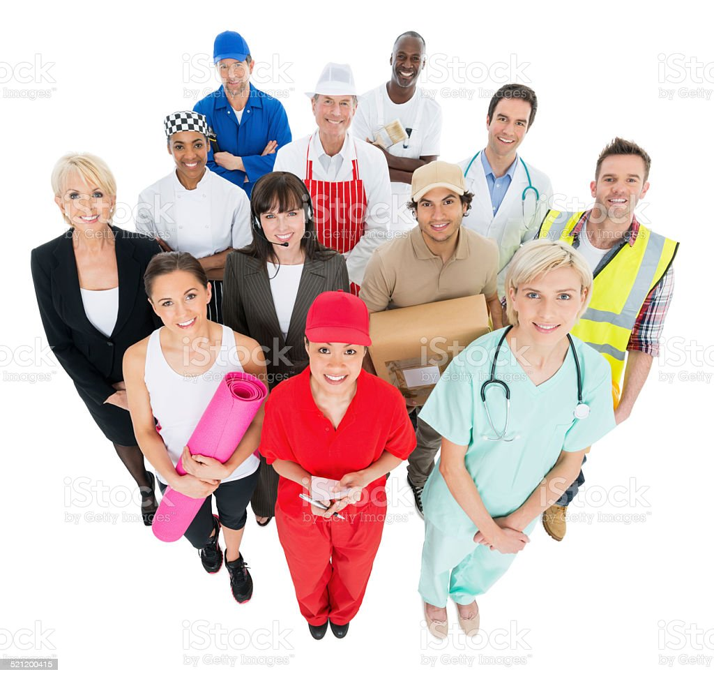 Group Of People With Different Occupations stock photo