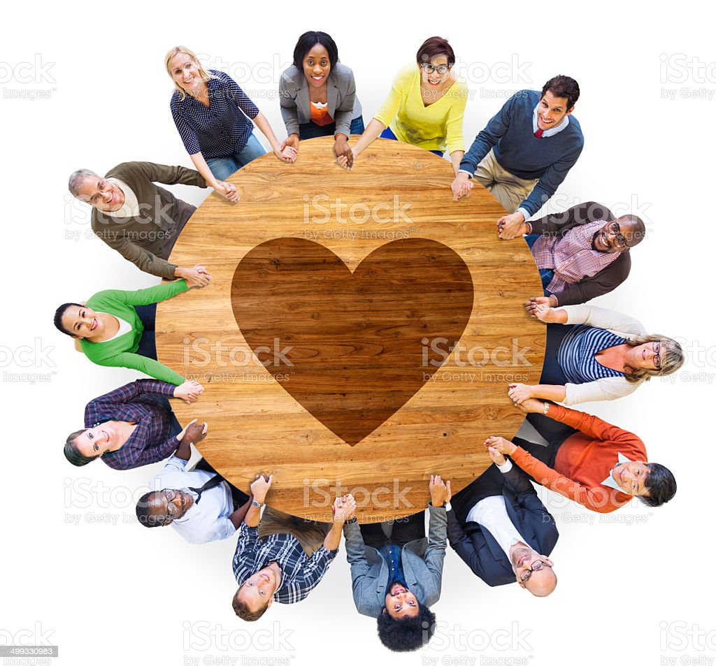 Group of People with Heart Shape stock photo