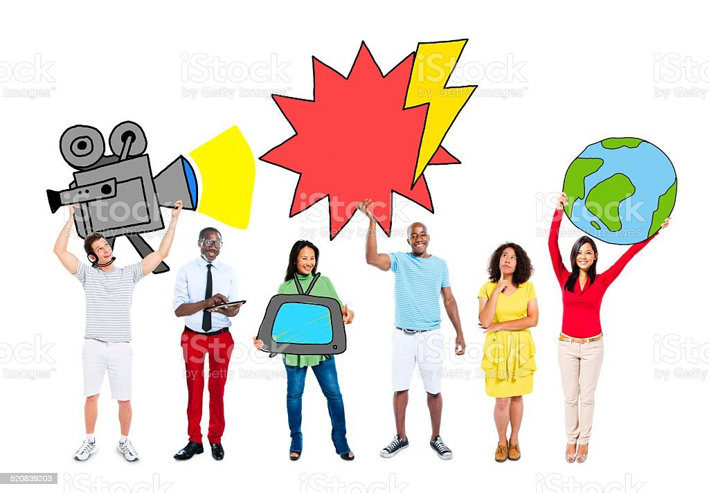 Group of People with Media Concept stock photo