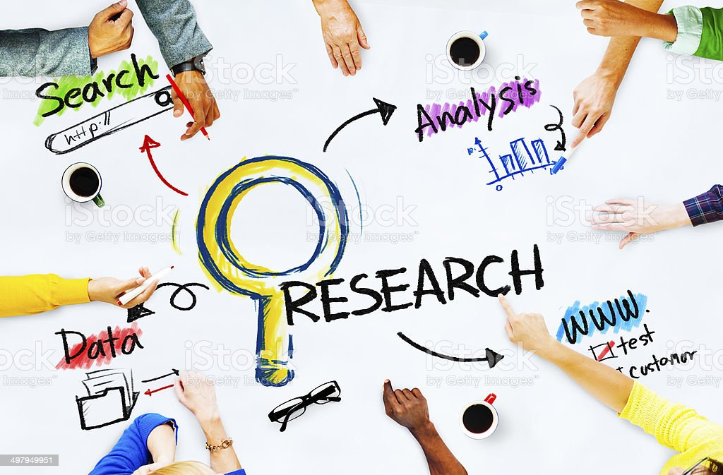 Group of People with Research Concept stock photo