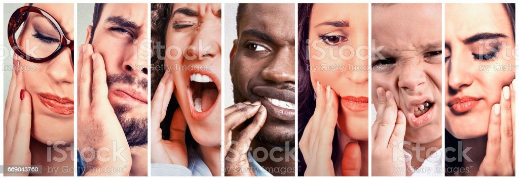 group of people with toothache stock photo