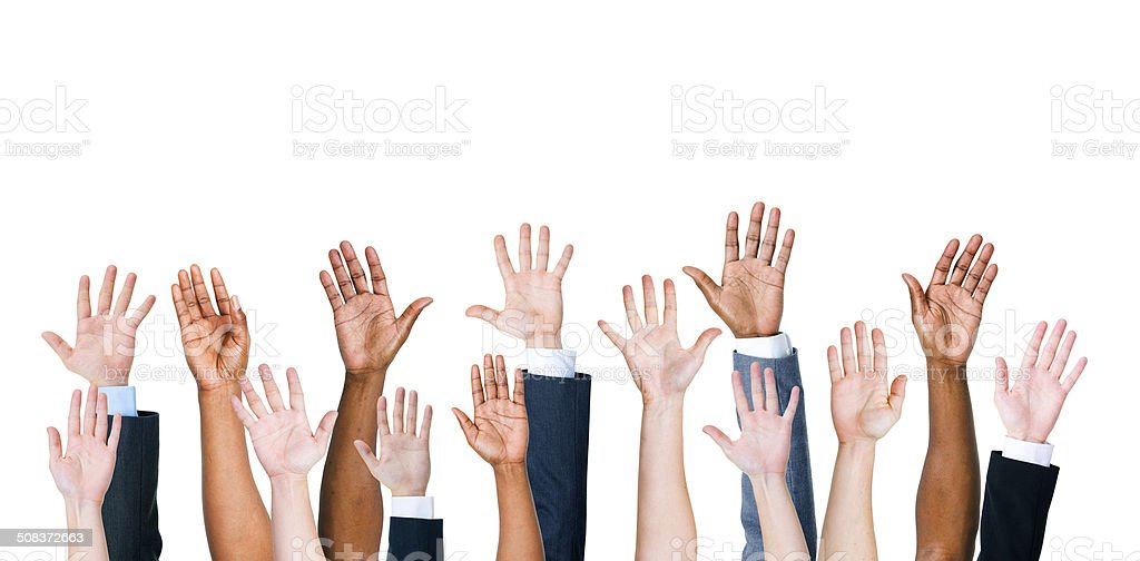 Group Of People's Arms Outstretched In A White Background stock photo
