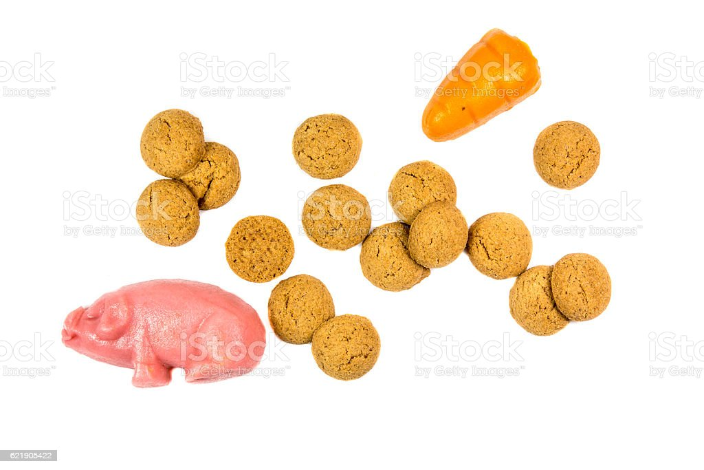 Group of Pepernoten cookies and marzipan stock photo