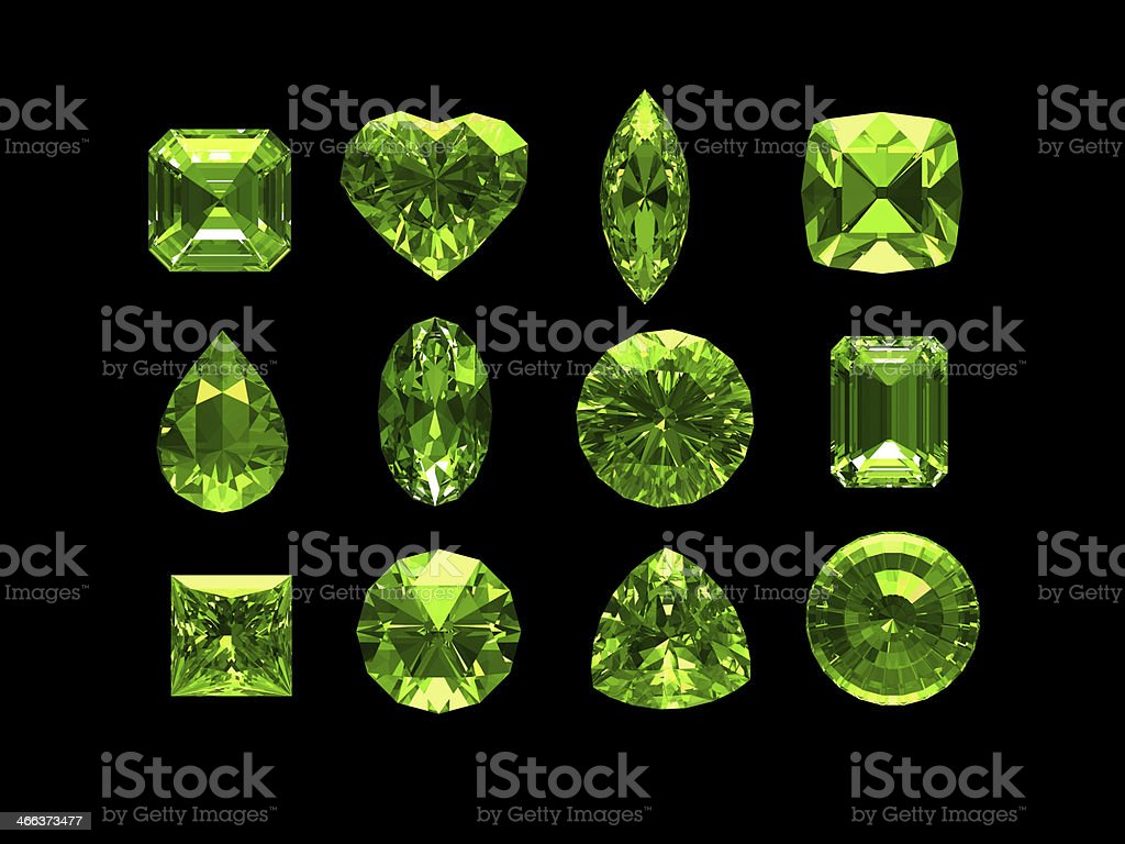 Group of peridot with clipping path stock photo