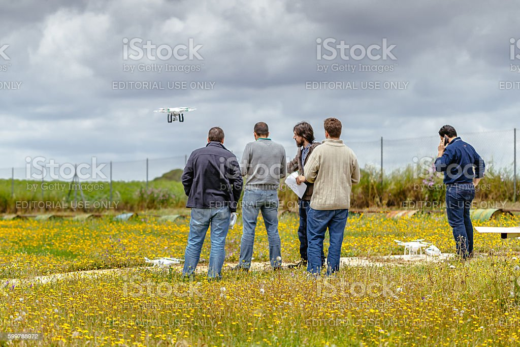 Group of persons making drone training course, La Juliana Aerodrome stock photo