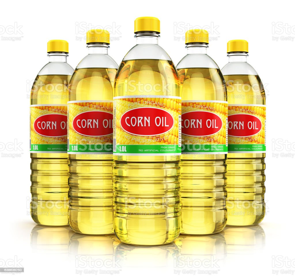 Group of plastic bottles with corn oil stock photo