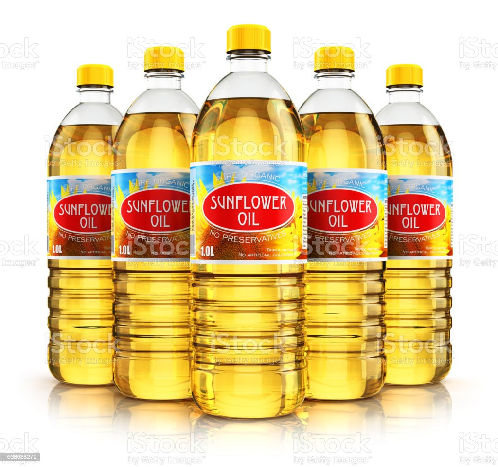 Group of plastic bottles with sunflower seed oil stock photo