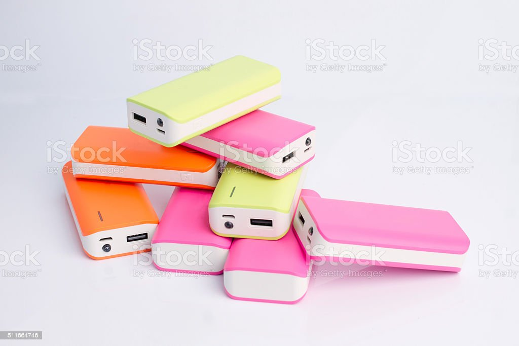Group of power bank for mobile phones stock photo