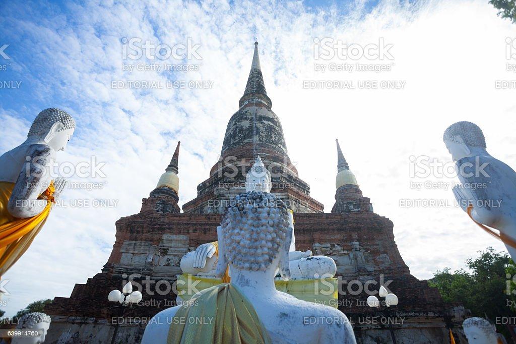 Group of praying buddhas stock photo