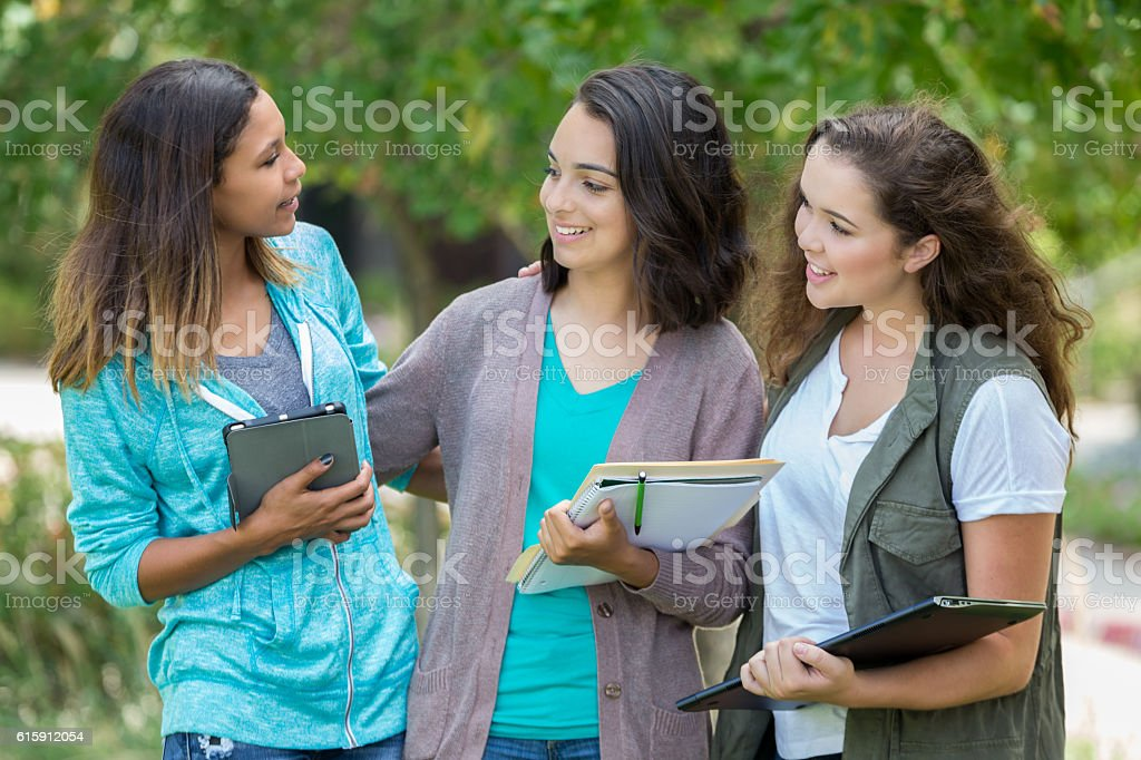 Group of pretty college age girls hanging out together stock photo