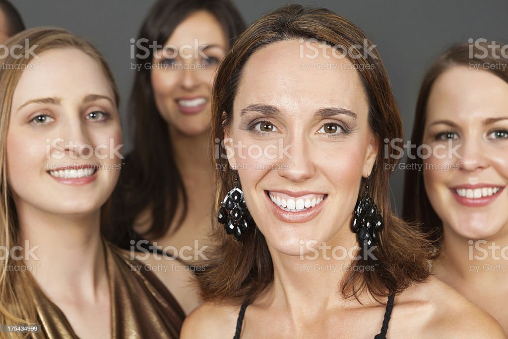 Group of pretty women looking forward stock photo