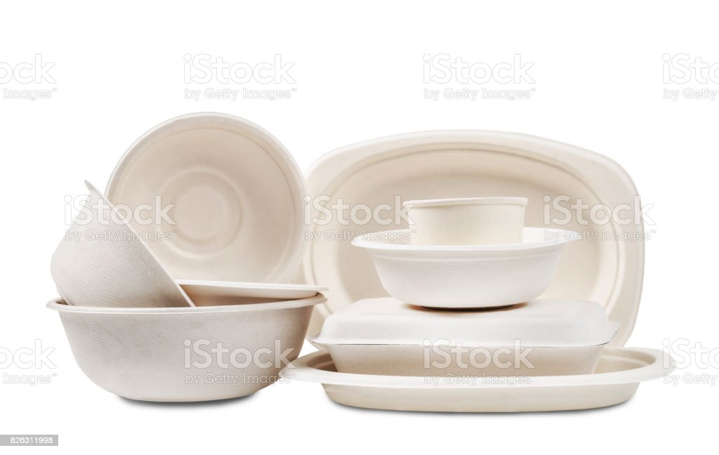 Group of product made from bagasse for container food stock photo