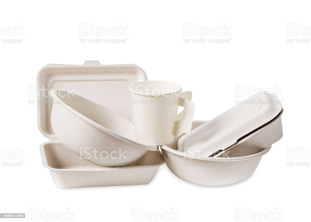 Group of product made from bagasse. stock photo