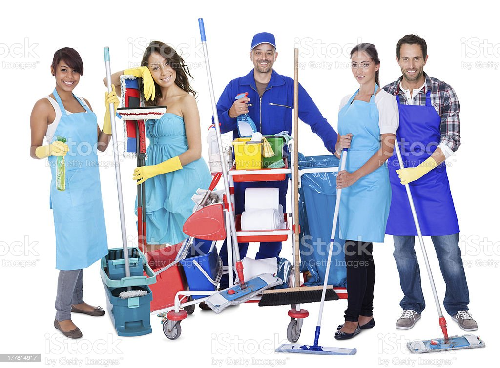 Group of professional cleaners stock photo