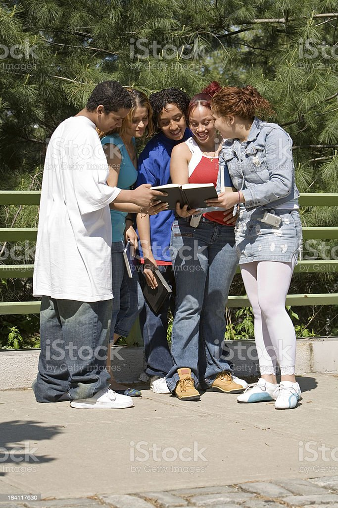Group of Puerto Rican high school students royalty-free stock photo