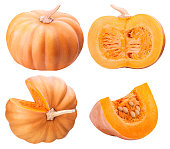 Group of pumpkins isolatet in white background