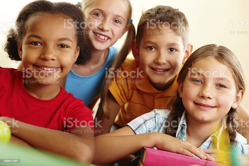 Group of pupils stock photo