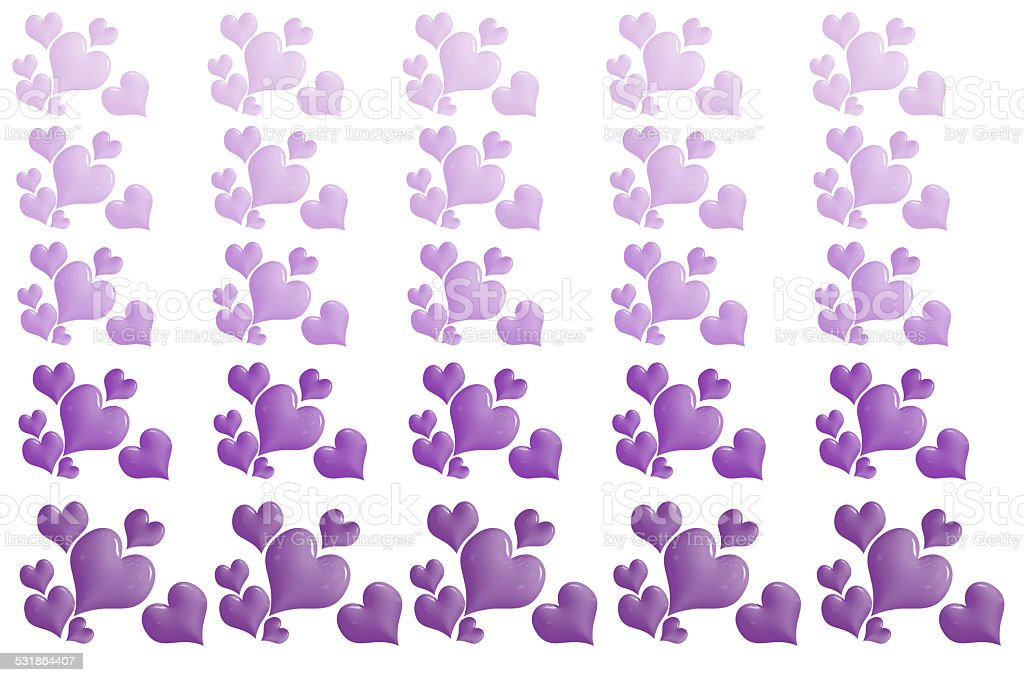 Group of Purple Hearts Pattern Isolated on White stock photo