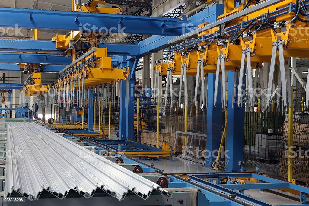 Group of pvc in aluminium factory stock photo