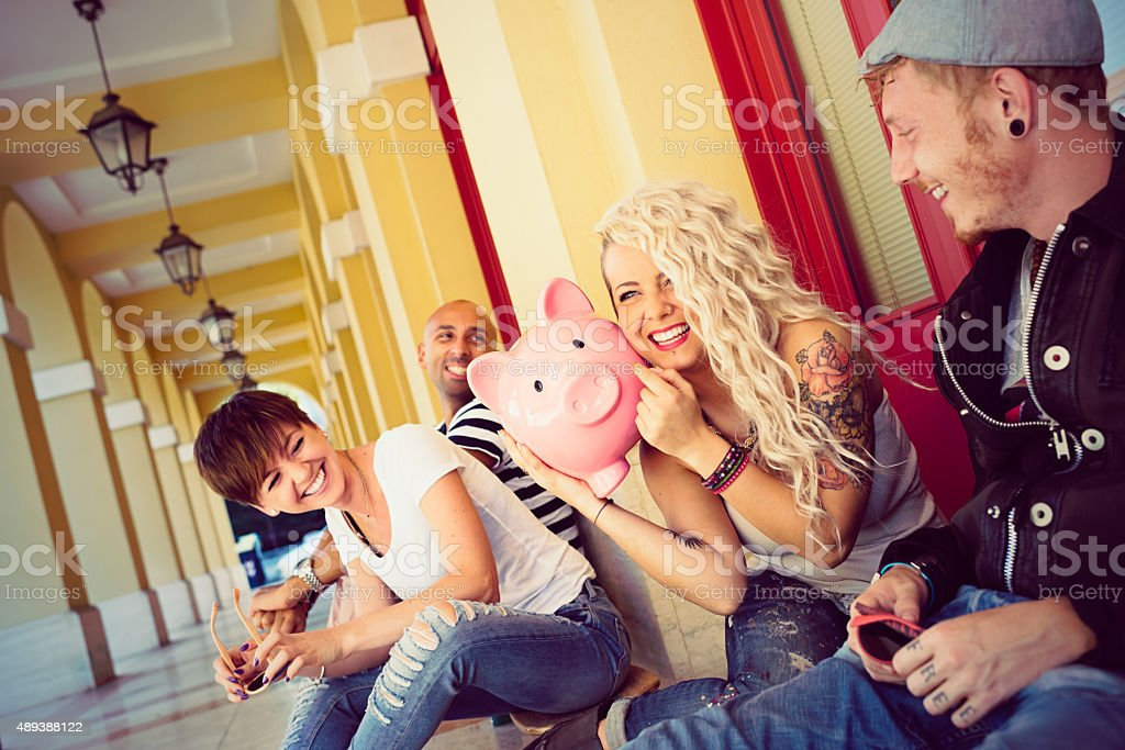 Group of real happy  young people stock photo