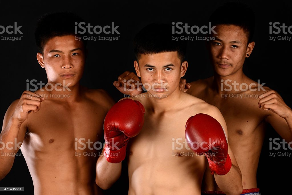 Group of  Real Muay Thai Boxer (Thailand Boxing) stock photo