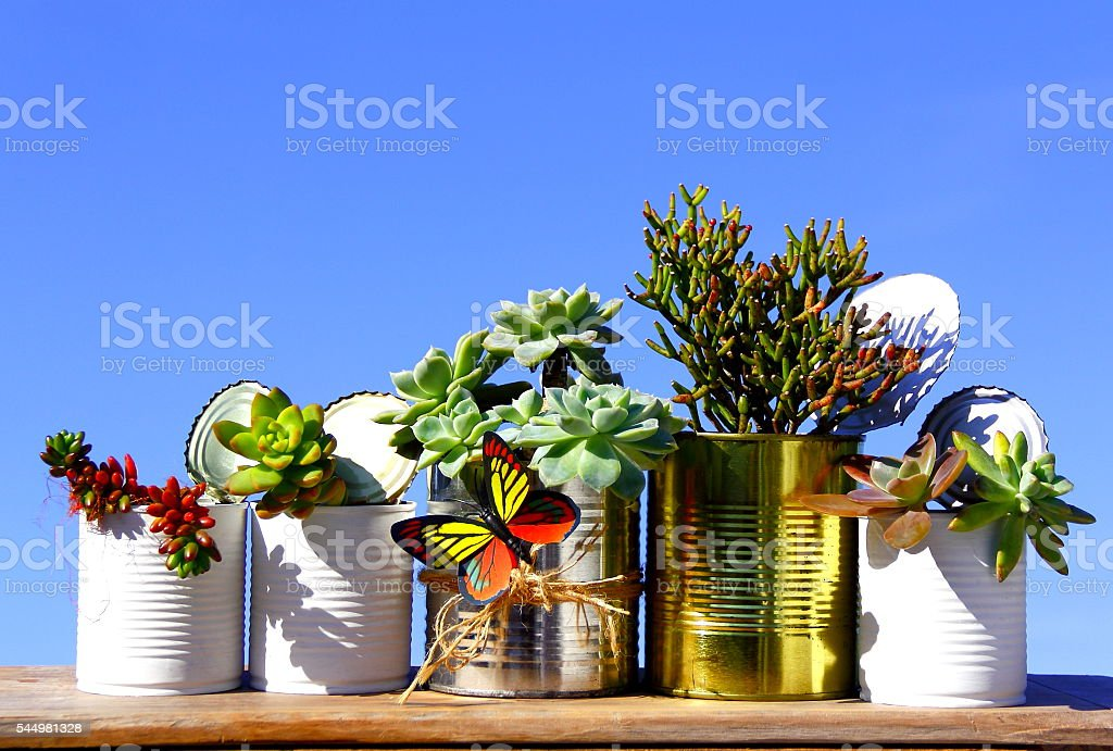 Group of recycled cans. stock photo