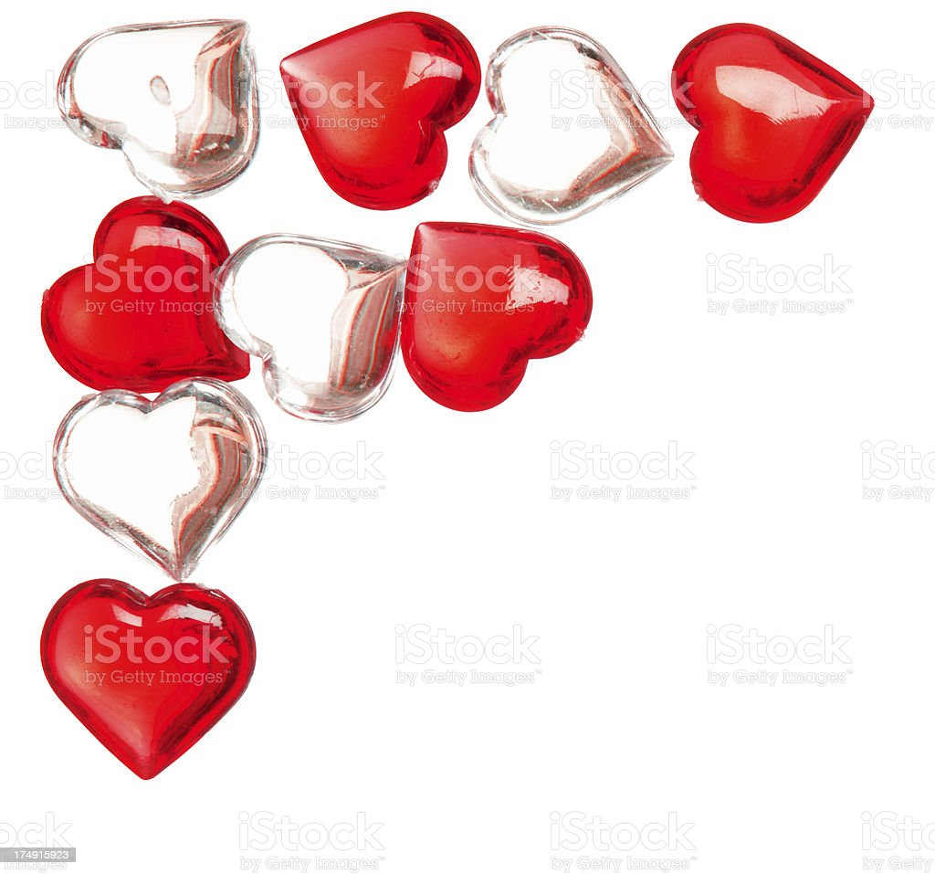 Group of red and white glass hearts stock photo