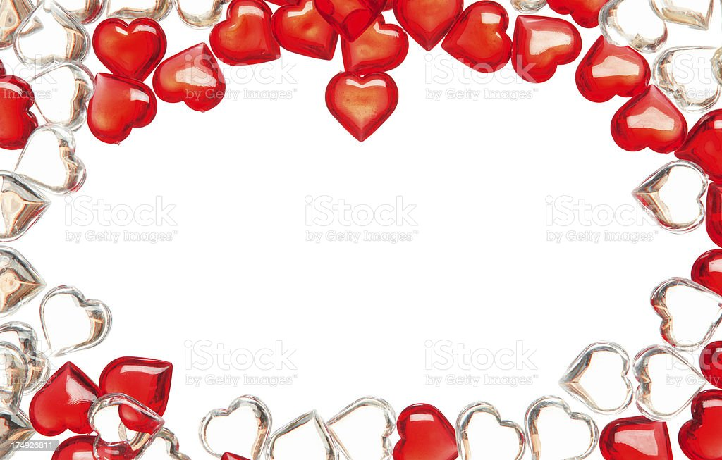 Group of red and white glass hearts royalty-free stock photo